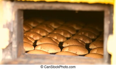 Cookie is baked in the oven. The oven in the bakery. Cookies...