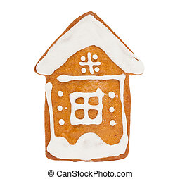 Cookie Isolated on White Background. Ginger bread Christmas Food, House Figure