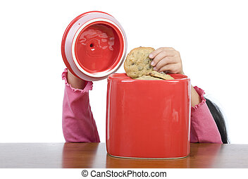 Cookie Jar - A little hand reaching into the cookie jar.
