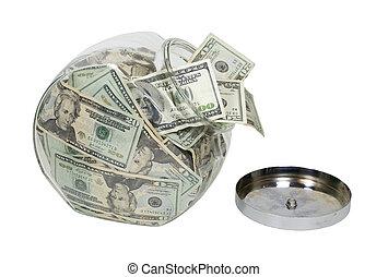 Cookie Jar Full of Money - Glass cookie jar stuffed full of ...