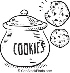 Cookie jar sketch - Doodle style cookie and cookie jar...
