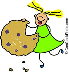 cookie kid - little girl eating a cookie - toddler art ...