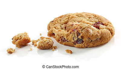 Cookie pieces and crumbs isolated on white background
