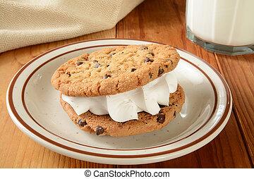Cookie sandwich and milk