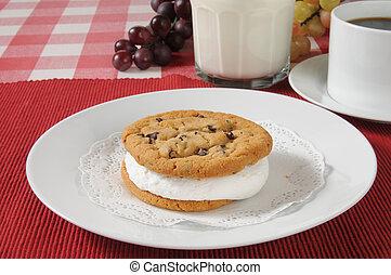 Cookie sandwich with milk