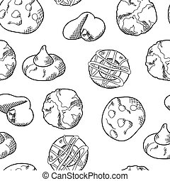 Cookie seamless pattern in hand drawn style. Bakery product for your background. Food vector illustration