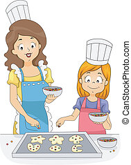Cookie Sprinkles - Illustration of a Woman and a Girl Adding...