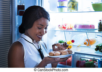 cookie, szczelnie-do góry, kobieta jedzenie