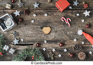 Cookie with love word placed in the middle of Christmas setting