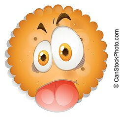 Cookie with silly face illustration