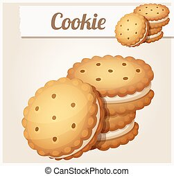 Cookie with white cream. Detailed vector icon