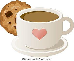 cookies., コーヒー, ベクトル, illustration., カップ