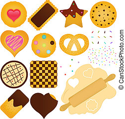 Cookies and Biscuit with a Dough - A set of Vector Icons :...