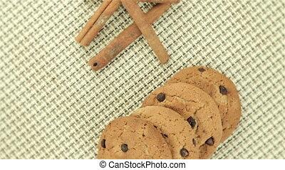 Cookies and cinnamon on napkin, video