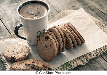 cookies and coffee on table