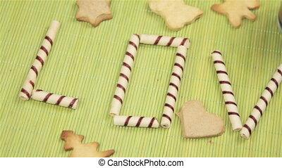 Cookies and coffee, word Love Cookies