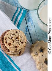 cookies and farm fresh milk as healthy breakfast on table