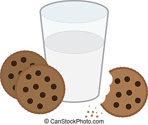 Cookies and Milk - Chocolate chip cookies and glass of milk...