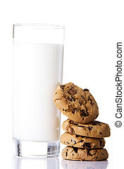 Cookies and milk, isolated on white