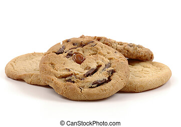 Cookies - Assorted fresh baked cookies on a white...