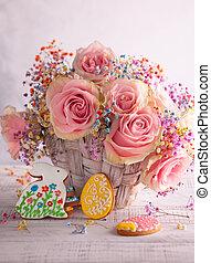 cookies., bloemen, pasen, samenstelling