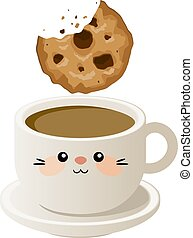 cookies., café, vecteur, illustration, tasse