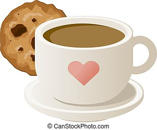 cookies., café, vecteur, illustration., tasse