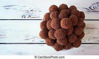 cookies., chocolat, balle, formé
