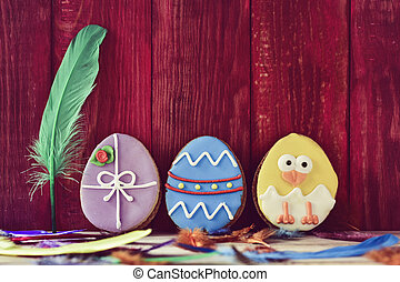 cookies decorated as easter eggs
