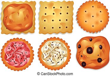 Cookies - Different flavours cookies on a white background