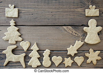 Cookies Frame on Wooden Background