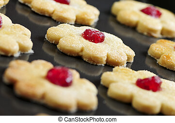 Cookies - Fresh shortbread cookies on a baking tray