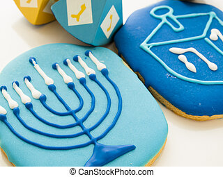 Gourmet cookies decorated for Hanukkah.