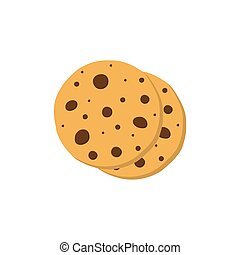 Cookies icon flat style on white background