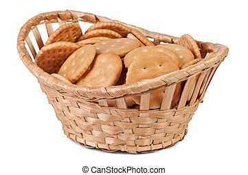 Cookies in a basket isolate on white background.