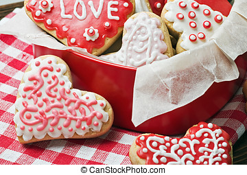 cookies in a box in the form of baked hearts for Valentine's day