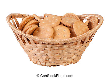 Cookies in basket isolate on white background.