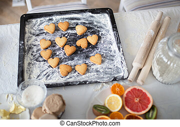 Cookies in the form of hearts