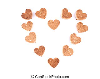 Cookies in the form of hearts on a white background