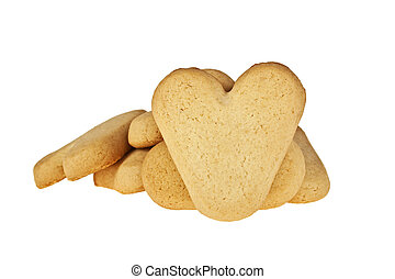 Cookies in the shape of a heart on a white background