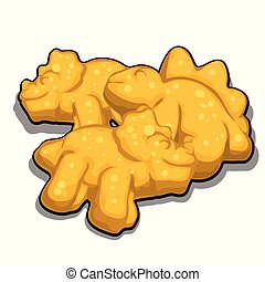 Cookies in the shape of dinosaurs isolated on white background. Cartoon vector close-up illustration.