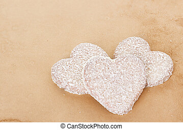 Cookies in the Shape of Heart at Valentine Day