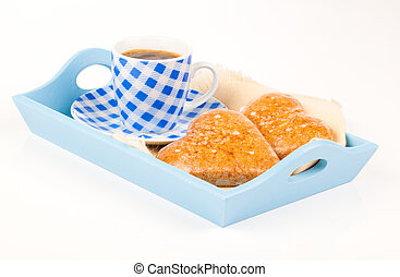 cookies in the shape of heart with coffee cup, in a tray for breakfast. isolated on white background.