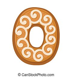 Cookies in the shape of number 0. Vector illustration on a white background.
