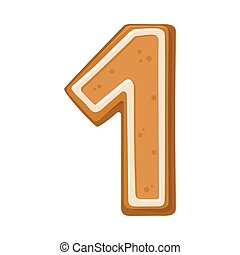 Cookies in the shape of number 1. Vector illustration on a white background.