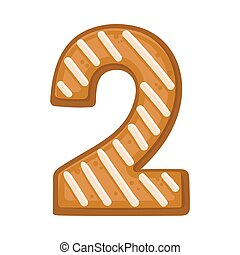 Cookies in the shape of number 2. Vector illustration on a white background.