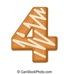 Cookies in the shape of number 4. Vector illustration on a white background.