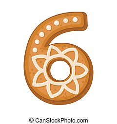 Cookies in the shape of number 6. Vector illustration on a white background.