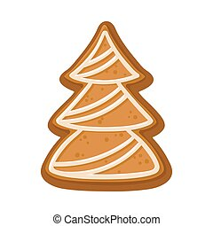 Cookies in the shape of spruce. Vector illustration on a white background.