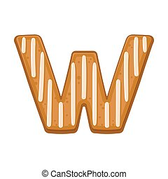 Cookies in the shape of the letter W. Vector illustration on a white background.